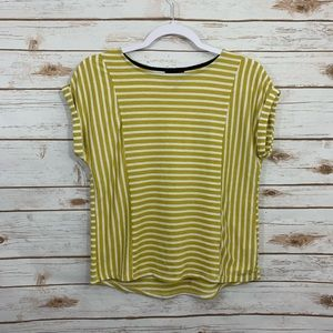 Anthro W5 Striped Cuff Sleeve Casual  Blouse